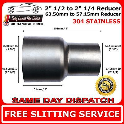 "2.5"" to 2.25"" Stainless Steel Standard Exhaust Reducer Connector Pipe Tube"