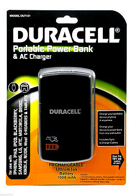 New DURACELL Portable Power Bank Backup Battery For Samsung Cell Phone & Tablet