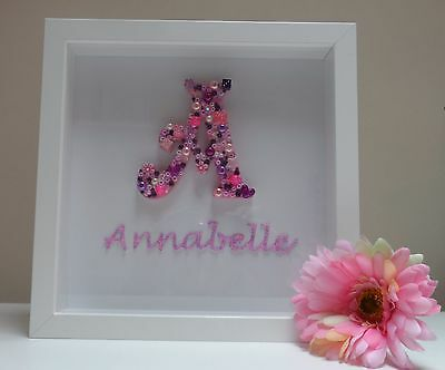 Personalised Girl initial Name Picture - Baby Newborns Christenings New Arrival