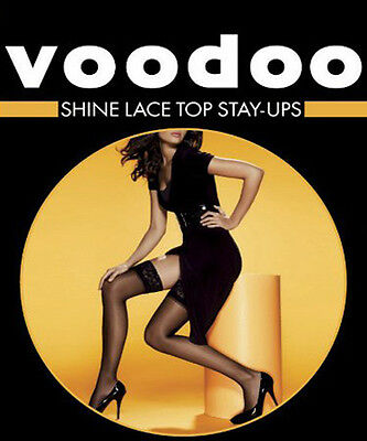 Womens Lady Voodoo Shine Lace Top Stay Ups Sheer Stockings White Nude Black