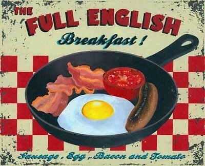 Full English Breakfast, Cafe Kitchen Pub Vintage Food Old, Small Metal Tin Sign