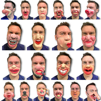 Half Face Comedy Funny People Face Mask Stag Hen Latex Party Masks Masquerade