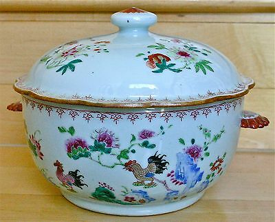 Chinese Porcelain Covered Tureen Decorated with Roosters, circa 1720-1740