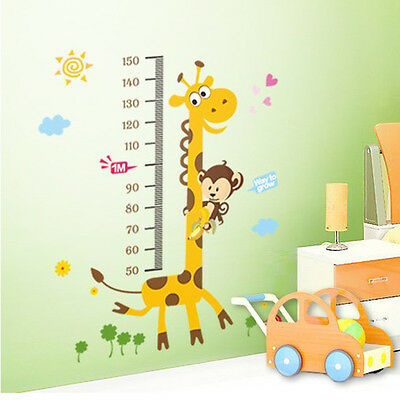 NEW Giraffe Monkey Removable Vinyl Wall Decal Stickers Kids Height Chart Measure