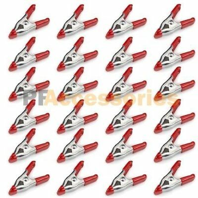 24x 2 inch Mini Metal Spring Clamps w/ Red Rubber Tips Tool LOT of 24 Pcs Pack