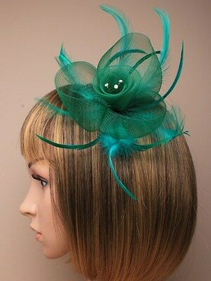 Emerald Green Net Flower & Feather Fascinator hair clip diamante crystal details