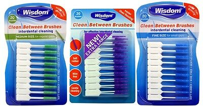 Wisdom Clean Between Interdental Brushes - Pack of 20 – Sizes S/M/XL