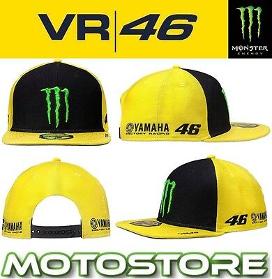 Vr46 Valentino Rossi Monster Energy Flat Cap Peak Trucker Official Hat Claw