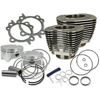 "S&S Wrinkle Black 107"" Big Bore Cylinder Kit for Harley Twin Cam 07-15"