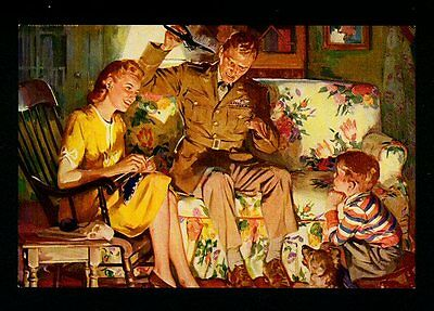 "VINTAGE 1950'S ""DAD'S HOME"" MILITARY FATHER-SON CALENDAR ART PRINT"