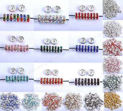 30pcs 6MM 7MM 8MM 10MM Czech Crystal Rhinestone Silver Rondelle Spacer Beads