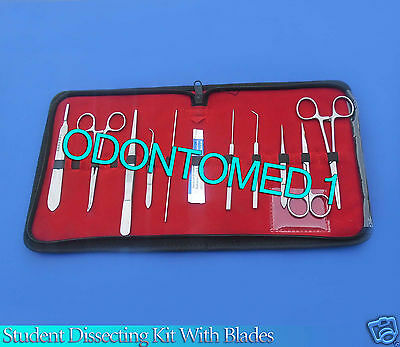 Set Of 10 Pc Student Dissecting Dissection Medical Instruments Kit +5 Blades #11