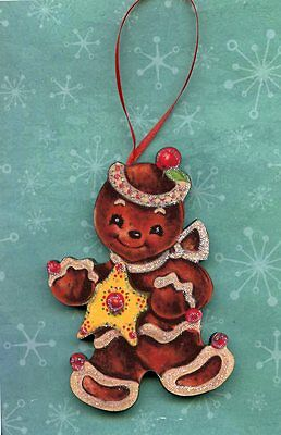 Gingerbread yellow star glittered Christmas tree Ornament Decoration vintage