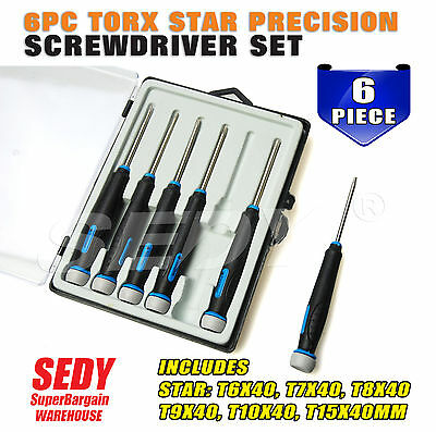 6 Torx Screwdriver Set Precision Magnetic T6 T7 T8 T9 T10 T15 Fix Repair 90402