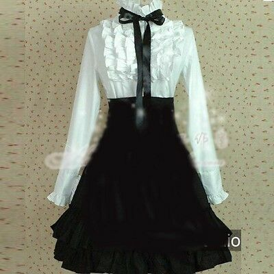 Ladies Victorian Lolita Gothic Palace Dovetail Embroidery Princess Shirt