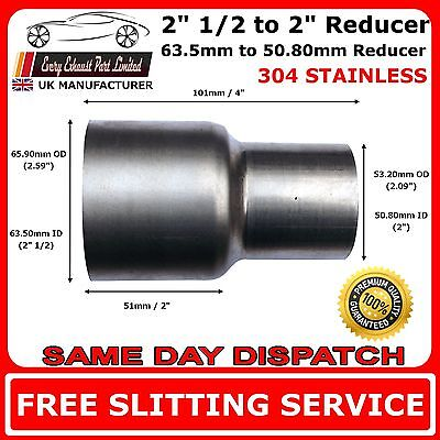 """2.5"""" to 2"""" Stainless Steel Standard Exhaust Reducer Connector Pipe Tube"""