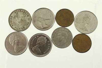 Vintage Foreign Currency Coin Lot All CANADA Mixed Dates 1958 Silver Quarter