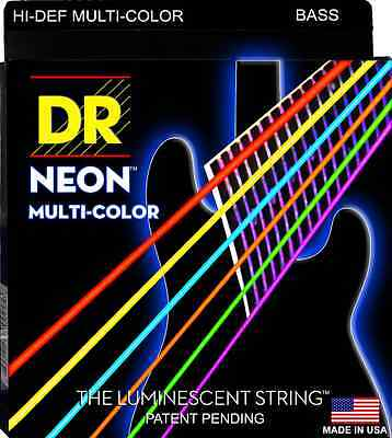 DR NMCB6-30 NEON HiDef  MULTI-COLOR COATED BASS STRINGS, MEDIUM 6's - 30-125