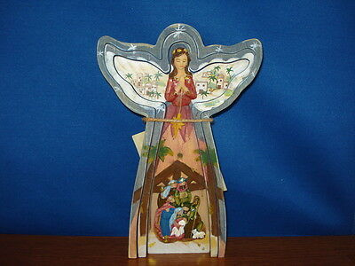 Nativity - Angel with Holy Family diorama 8.25 inches tall