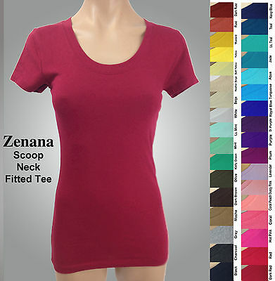 ZENANA 3007 Fitted Tee T-shirt SCOOP Neck Cotton Spandex Short Sleeves