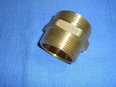 "Dmh1515F Brass Hex Nipple Fire Hose Adapter 1-1/2"" Npt X Nst Double Male Dixon"