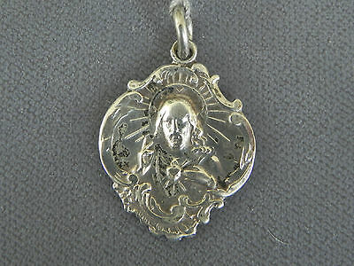 Antique Sterling Silver Art Nouveau Sacred Heart of Jesus Religious Medal