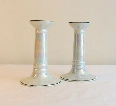 Original RCW Bavaria Opalescent Lusterware Pair of Candlesticks / Candle Holders