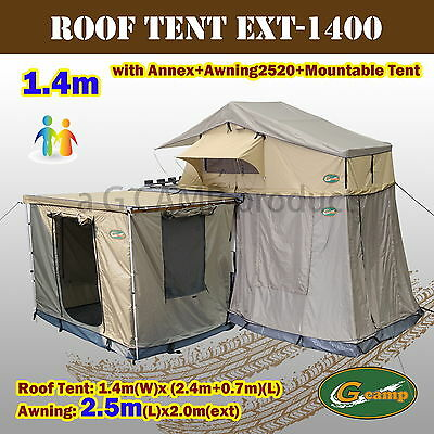 G CAMP 1.4m EXT ROOF TOP TENT TRAILER 4WD 4X4 CAMPING CAR RACK ANNEX AWNING