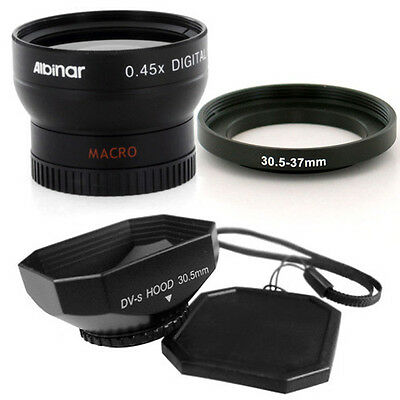Albinar 30.5mm Wide Angle Lens, Hood for JVC Everio GZ-HM200 Camcorder NEW