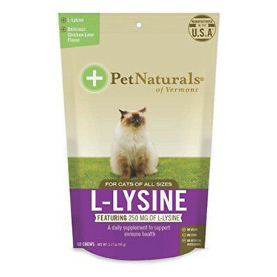 Pet Naturals L-Lysine for Cats herpes  60ct Chicken Liver Flavored chews