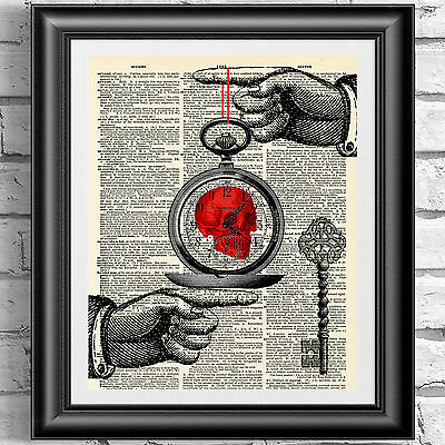 Art print on original antique dictionary book page Steampunk red skull Gothic.
