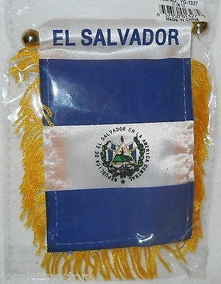 "El Salvador Mini Flag Banner New  Viva El Salvador! Both Sides Flag 6""x 4"""