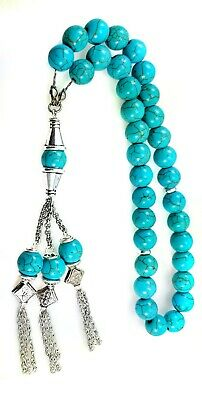 Tasbih Worry Beads Komboloi Turquoise 12MM Threaded on Sterling Silver Chain