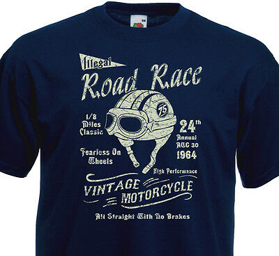 T-SHIRT ROAD RACE Cafe Racer Vintage Motorcycle Custom Rider Biker Norton BSA
