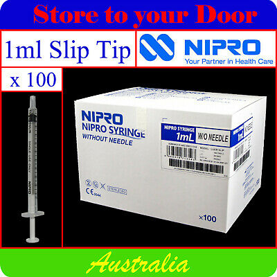 -100 x 1ml Syringes Slip Tip - Disposable Hypodermic Syringe / Medical