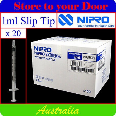 -20 x 1ml Syringes Slip Tip - Disposable Hypodermic Syringe / Medical