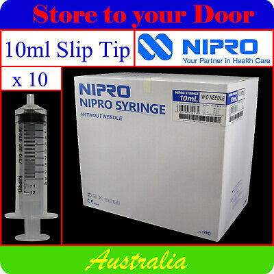 -10 x 10ml Syringes Slip Tip - Disposable Hypodermic Syringe / Medical
