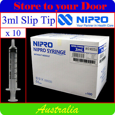 -10 x 3ml Syringes SlipTip - Disposable Hypodermic Syringe / Medical
