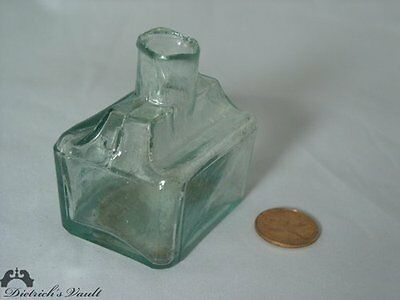 Rare 1855 Antique Glass Aqua Green JOHNSON Cabin Shaped Ink Bottle