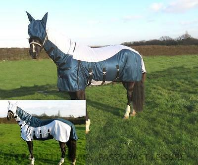 Equidor Tulsa Horse Fly Rug Combo Fixed Neck Free Fly Mask Large Belly Strap