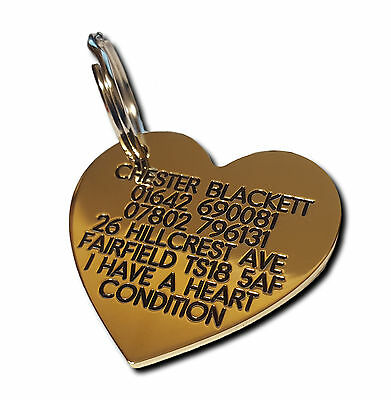 Pet Dog Cat ID Collar Tags - Deeply engraved FREE, 41mm Brass Heart. Top Quality