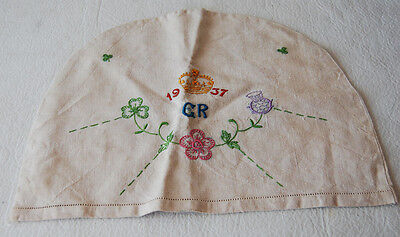 25. AN ENGLISH LINEN COVER WITH 1937 YEAR OF CORONATION WITH PLANTS OF THE UK
