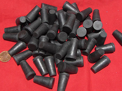 "50 pcs - #00 Tapered Rubber Stopper - 3/8"" to 9/16"" Solid, Vial, Test Tube, Cork"
