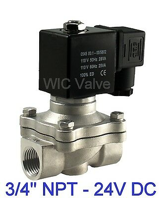 "3/4"" Inch Stainless Electric Air Gas Water Solenoid Valve NC 24V DC Viton Seal"