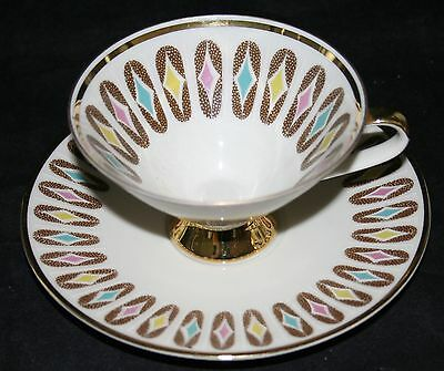 Vintage Mitterteich Bavaria Germany Footed Tea Cup and Saucer  056