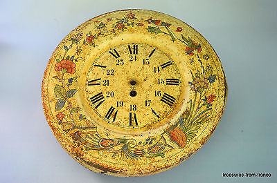 vintage french enameled  tin clock original early 1900s