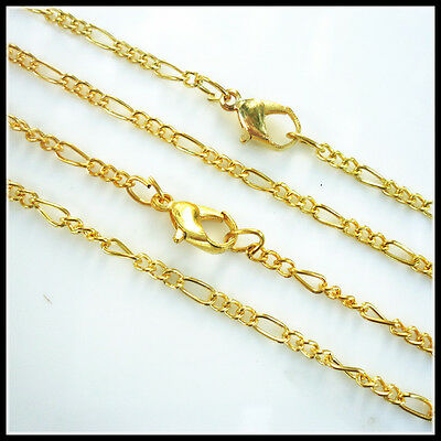 """Lots of 20PCS Gold Plated Fine Chain Necklace With Clasp 17""""X-G"""