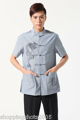 chinese short sleeve linen Embroidered Dragon man tang suit 143402 size M-XXXL