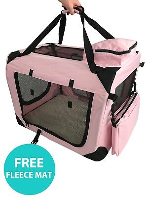 RayGar Folding Dog Cat Puppy Pet Carrier Fabric Portable Kennel Crate Cage - New