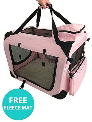 RayGar Pet Carrier Soft Crate Portable Foldable Fabric - Pink